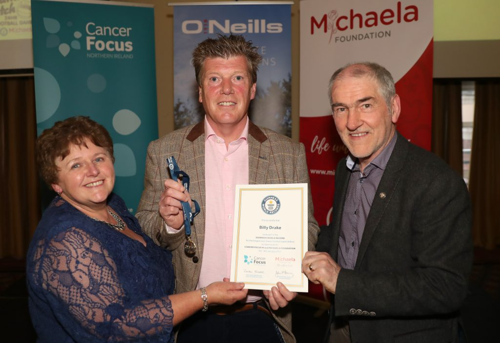 Roisin Foster (CEO Cancer Focus NI), Billy Drake (Player), Mickey Harte (Tyrone GAA)