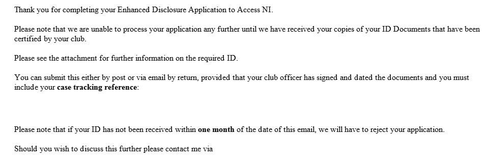 AccessNI update – you will receive the following automatic email